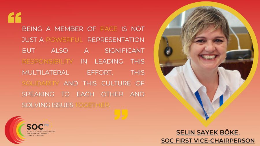 Le Secrétariat du Groupe des Socialistes, démocrates et Vert.e.s a eu un entretien avec la 1ère Vice-Présidente, Selin Sayek Böke, sur ce que cela signifie pour elle de faire partie de l'Assemblée Parlementaire du Conseil de l'Europe et sur ce qu'elle fait pour défendre les droits de l'homme, l'État de droit et les valeurs démocratiques au niveau européen.